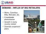 demand influx of big retailers