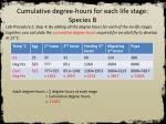 cumulative degree hours for each life stage species b