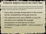 elapsed degree hours for each day