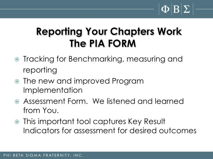 Reporting Your Chapters Work