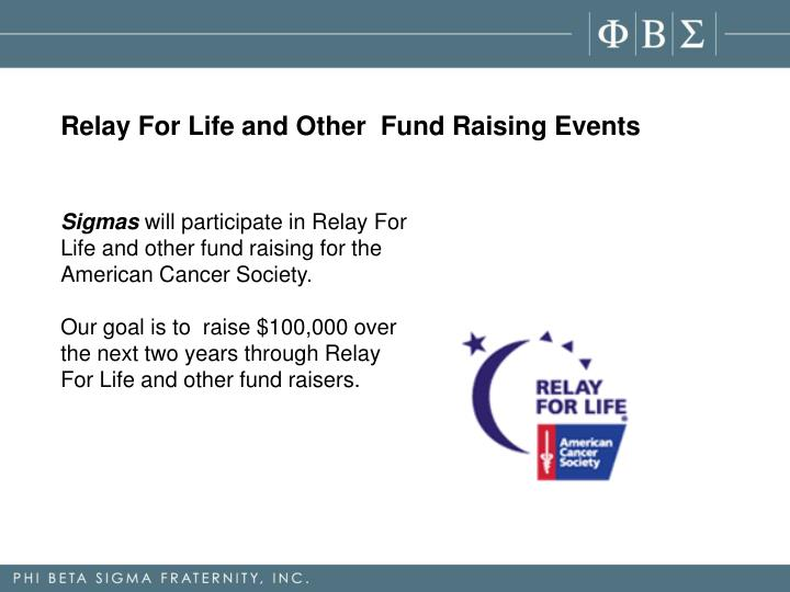 Relay For Life and Other  Fund Raising Events