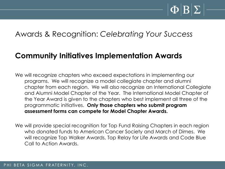 Awards & Recognition:
