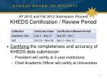 ay 2012 and fall 2012 submission process kheds certification review period