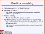 directions in modeling