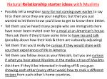 natural relationship starter ideas with muslims