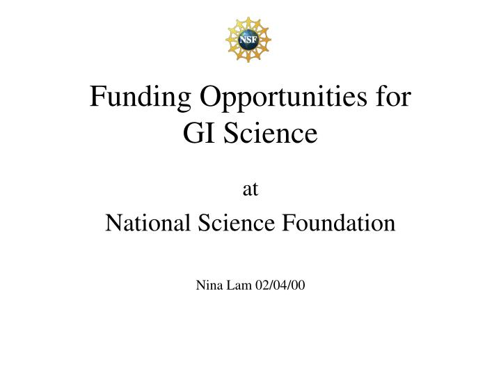 funding opportunities for gi science n.