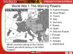 world war i the warring powers
