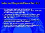 roles and responsibilities of the heu