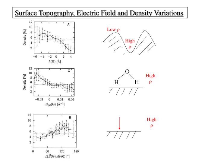 Surface Topography, Electric Field and Density Variations