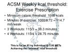 acsm weekly kcal threshold exercise prescription