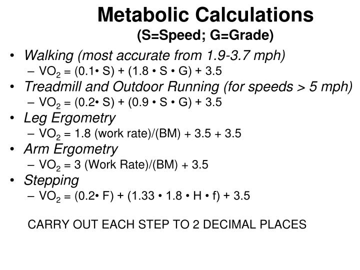 Metabolic Calculations