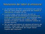 valutazione dei fattori di emissione
