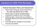 catalysts for 2006 pos mandates