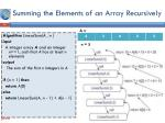 summing the elements of an array recursively