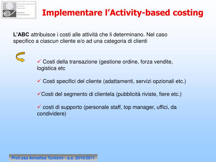 Implementare l'Activity-based costing