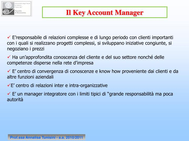 Il Key Account Manager