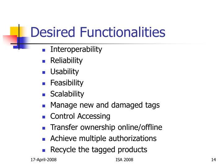 Desired Functionalities