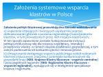 za o enia systemowe wsparcia klastr w w polsce