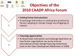 objectives of the 2010 caadp africa forum