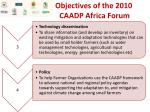 objectives of the 2010 caadp africa forum1