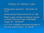 history of clinton lake
