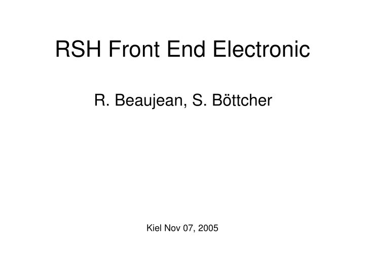 rsh front end electronic n.