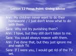 lesson 12 focus point giving advice1