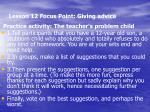 lesson 12 focus point giving advice4