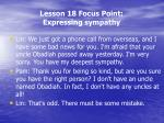 lesson 18 focus point expressing sympathy1