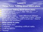 lesson 4 focus point talking about future plans2