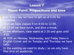 lesson 7 focus point prepositions and time1