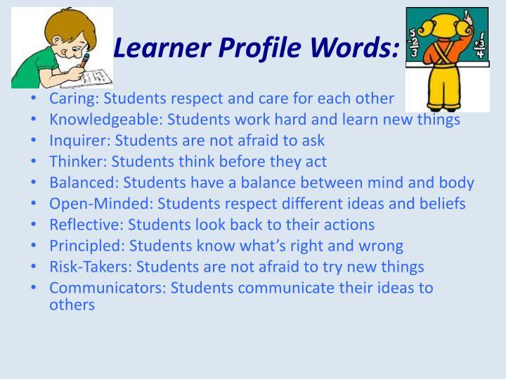 Learner profile words