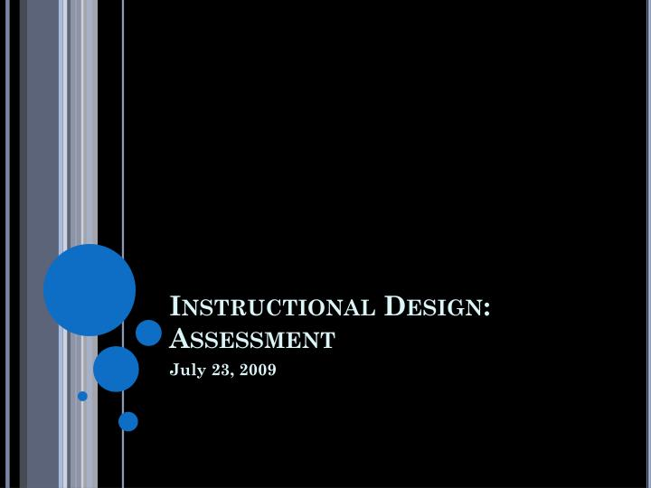 instructional design assessment n.