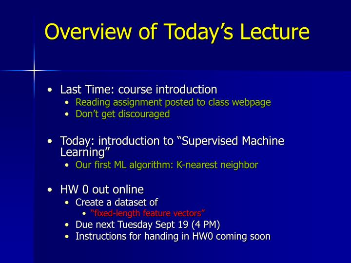 overview of today s lecture n.