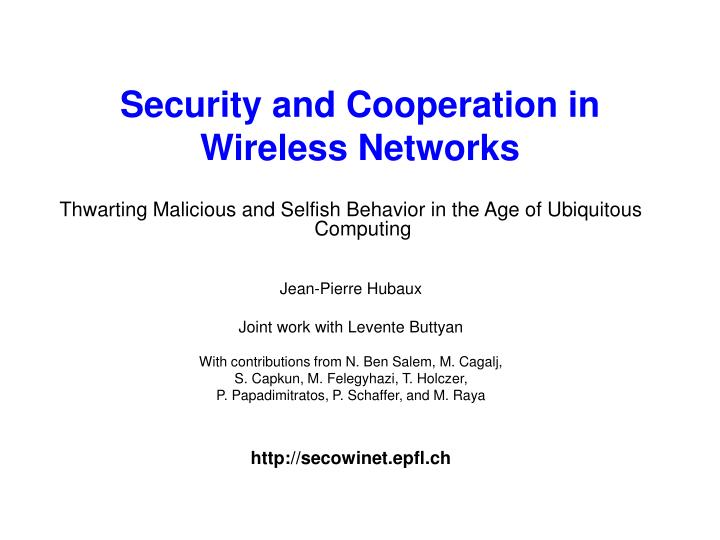 security and cooperation in wireless networks n.