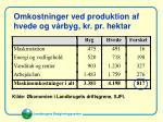 omkostninger ved produktion af hvede og v rbyg kr pr hektar