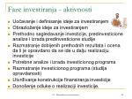 faze investiranja aktivnosti