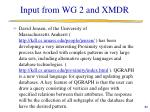 input from wg 2 and xmdr