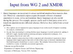 input from wg 2 and xmdr1