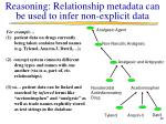 reasoning relationship metadata can be used to infer non explicit data