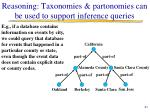 reasoning taxonomies partonomies can be used to support inference queries