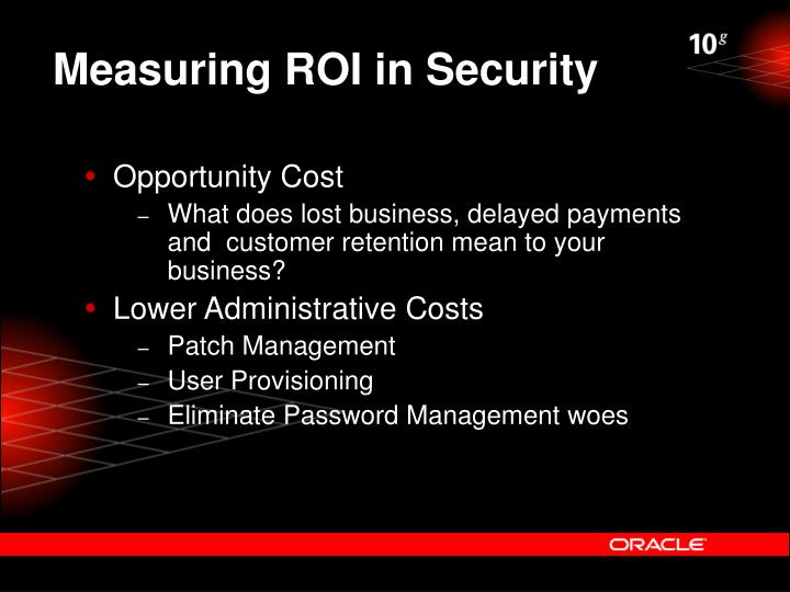 Measuring ROI in Security
