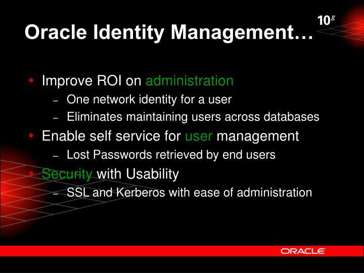 Oracle Identity Management…