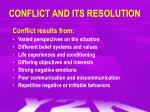 conflict and its resolution