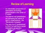 review of learning