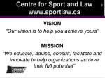 centre for sport and law www sportlaw ca