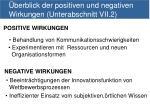 berblick der positiven und negativen wirkungen unterabschnitt vii 2