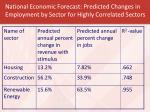 national economic forecast predicted changes in employment by sector for highly correlated sectors