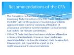 recommendations of the cfa