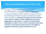 recommendations of the cfa1